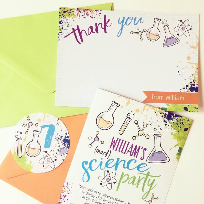 Science Mad Scientists Laboratory Kids Childrens Birthday Party Invitations Invites Printable Printed Hip Hip Hooray 3