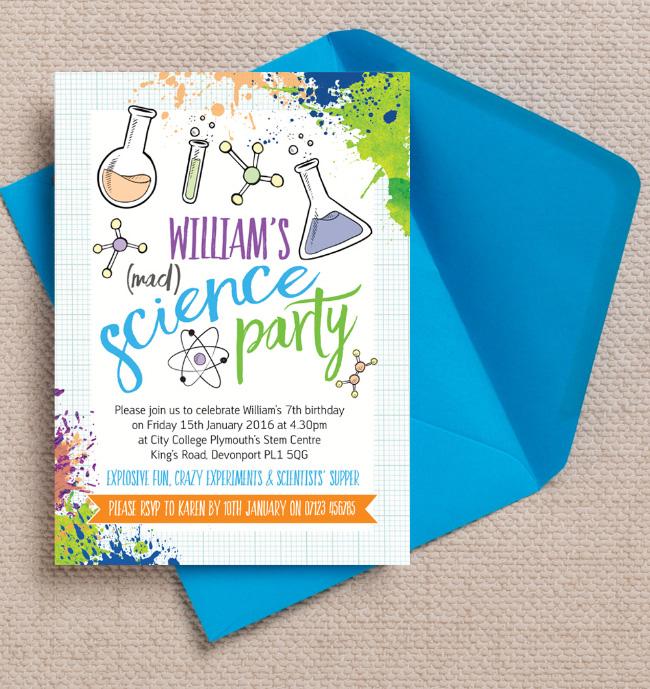 Science Mad Scientists Laboratory Kids Childrens Birthday Party Invitations Invites Printable Printed Hip Hip Hooray 4