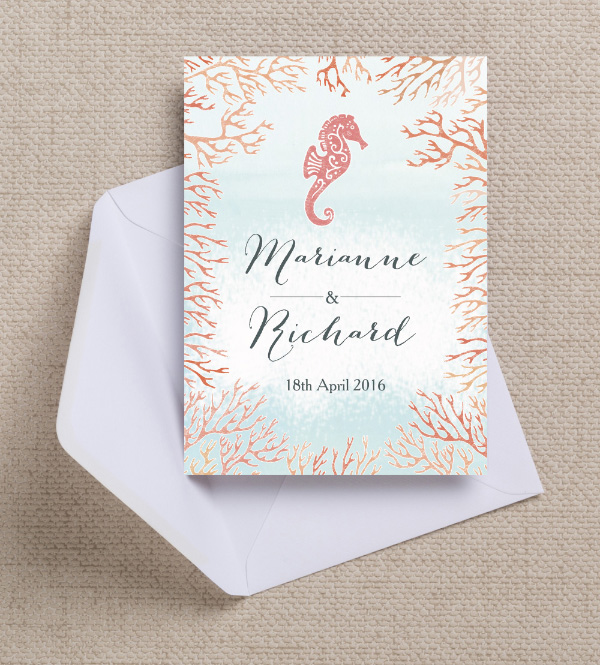 Tropical Seahorse Peach Coral Blush Pink Watercolor Watercolour Beach Destination Mexico Mexican Wedding Invitations Invites Printable Printed by Hip Hip Hooray