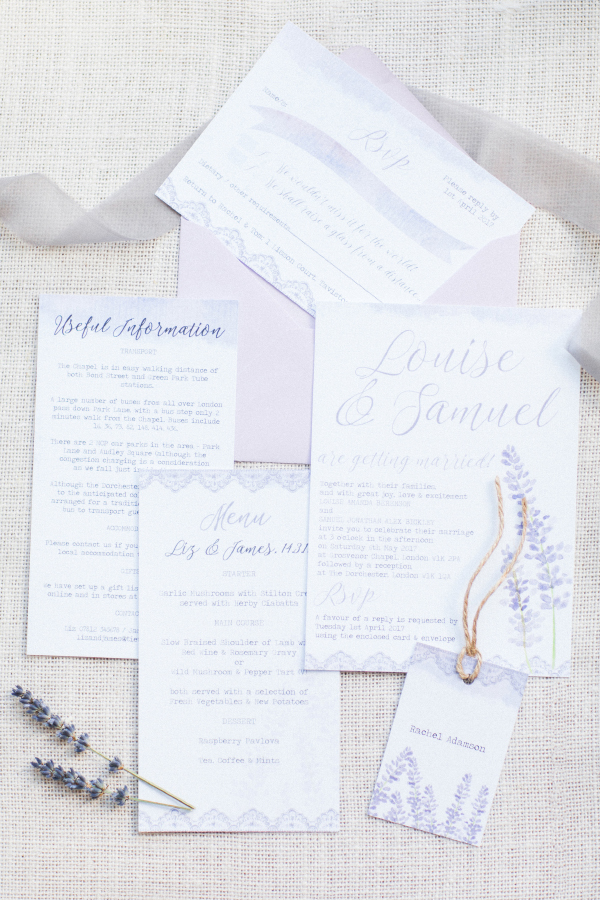 Lavender Lilac Rustic Natural Floral Wedding Stationery Invitations Invites Printed Printable Hip Hip Hooray 3