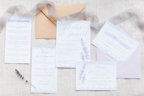 Lavender Lilac Rustic Natural Floral Wedding Stationery Invitations Invites Printed Printable Hip Hip Hooray 5