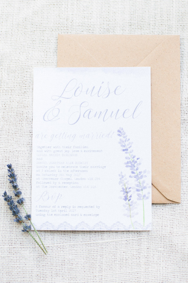 Lavender Lilac Rustic Natural Floral Wedding Stationery Invitations Invites Printed Printable Hip Hip Hooray 7