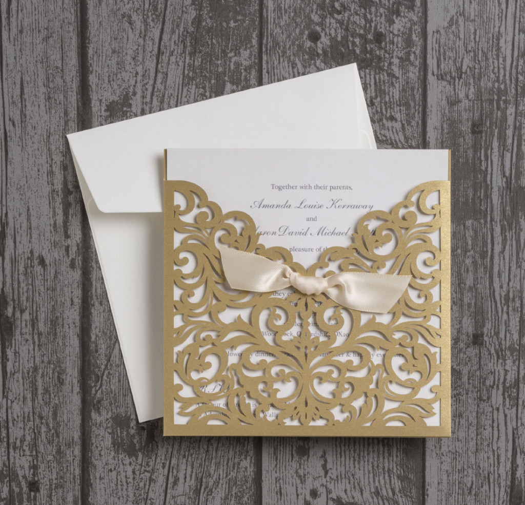 Wedding Invitations Laser Cut Uk : ... Vintage-Champagne-Gold-Laser-Cut-Wedding-Invitations-Invites-UK-Ivory