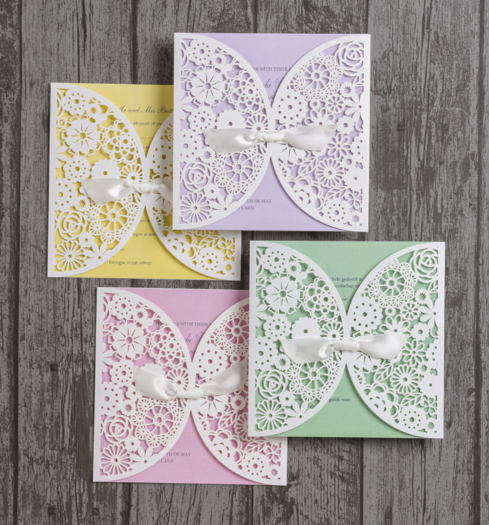 Vintage-lace-laser-cut-wedding-invites-invitations-pastel-pink-mint-green-yellow-lilac