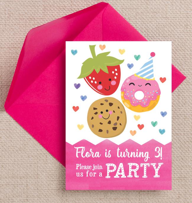 Cute Cupcake Donut Cookie Kawaii Childrens Kids Party Invitations Invites Personalised Printed Printable 2