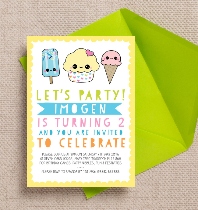 Cute Cupcake Lolly Popsicle Ice Cream Kawaii Childrens Kids Party Invitations Invites Personalised Printed Printable 3