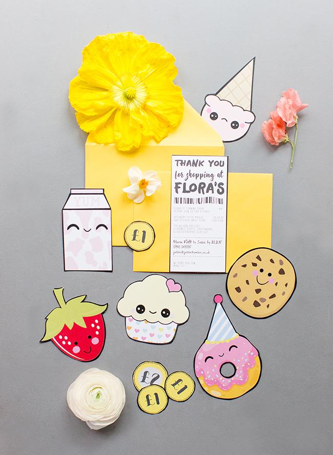 Cute kawaii cupcake donut strawberry cartoon shopkins kids birthday party Invitations stationery 6