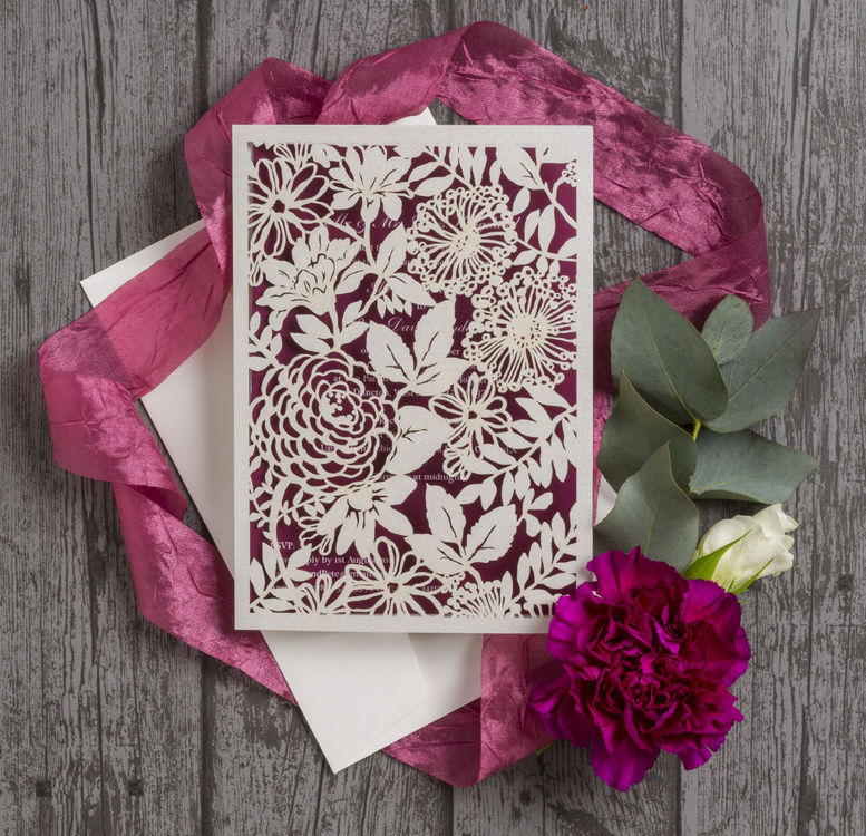 Ivory-Plum-Berry-Dark-Red-Wine-Maroon-Burgundy-Floral-Flowers-Laser-Cut-Wedding-Invitations-Invites-Hip-Hip-Hooray