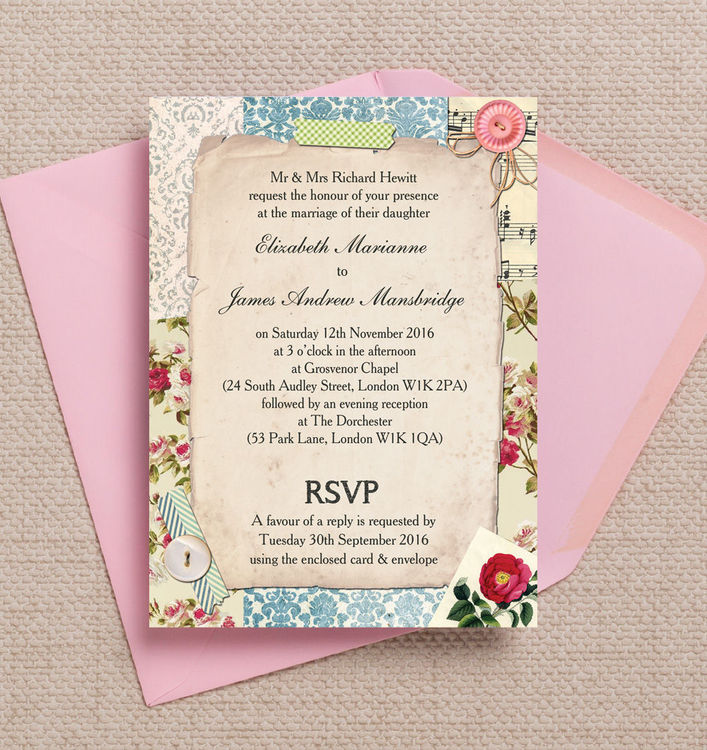 Vintage-Pastel-Scrapbook-Rustic-Antique-Postcard-Pastel-Pink-Blue-Kraft-wedding-invitations-invites-printable-printed-by-Hip-hip-hooray-stationery