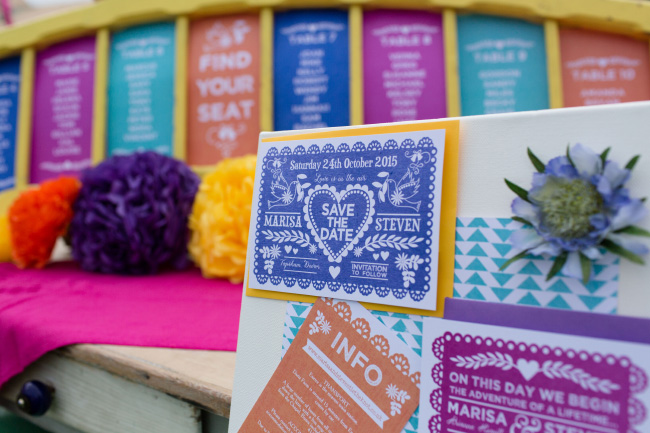 Mexican Mexico fiesta wedding Save the Dates stationery table seating plan hip hip hooray.com