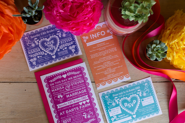 Mexican fiesta bright wedding reception table decor stationery invites invitations hip hip hooray.com