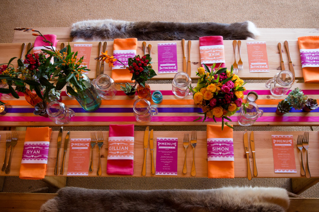 Mexican fiesta pink orange bright wedding reception table decor stationery invites invitations hip hip hooray.com