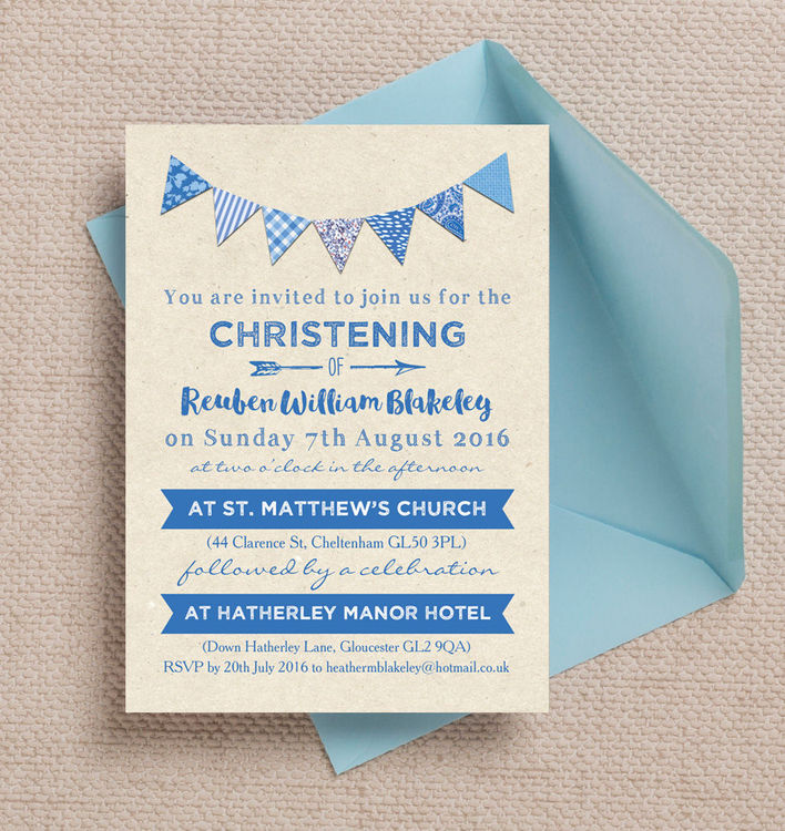 Vintage-Rustic-Kraft-Blue-Bunting-Christening-Baptism-Personalised-Invites-Invitations-3