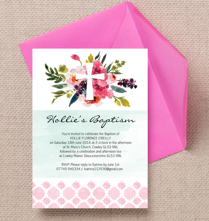 Watercolour-Floral-Pink-Green-Personalised-Christening-Baptism-Invitations-Invites3