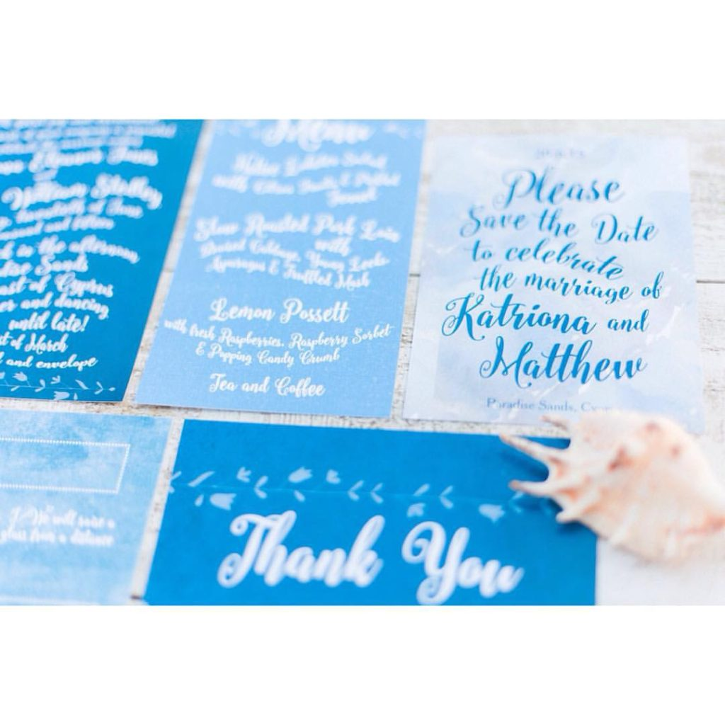 Blue white calligraphy beach destination wedding invites invitations stationery printable printed 1