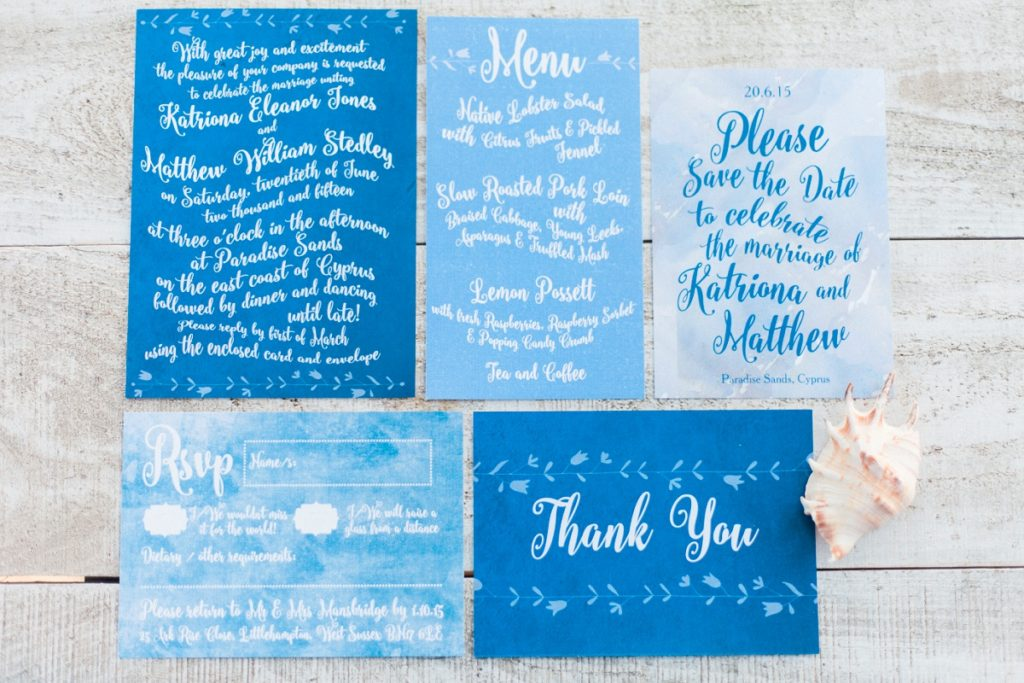 Blue white calligraphy beach destination wedding invites invitations stationery printable printed 11