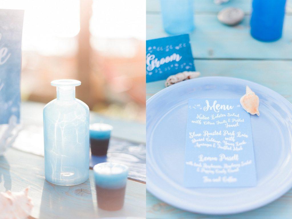 Blue white calligraphy beach destination wedding invites invitations stationery printable printed 4