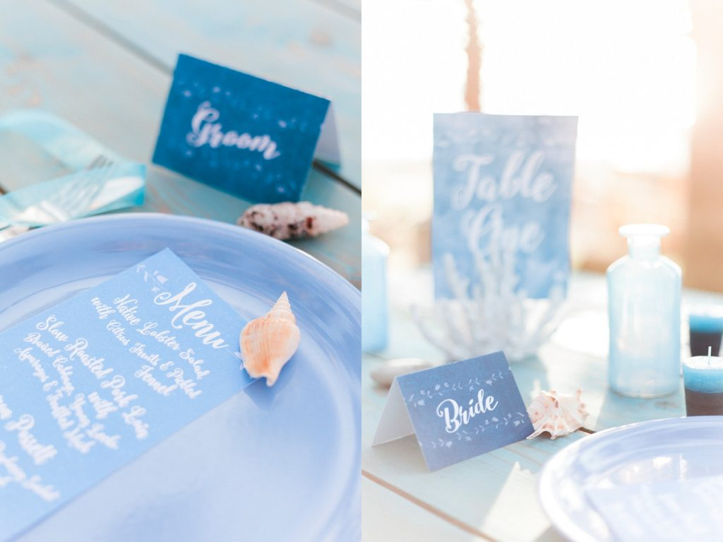 Blue white calligraphy beach destination wedding invites invitations stationery printable printed 6