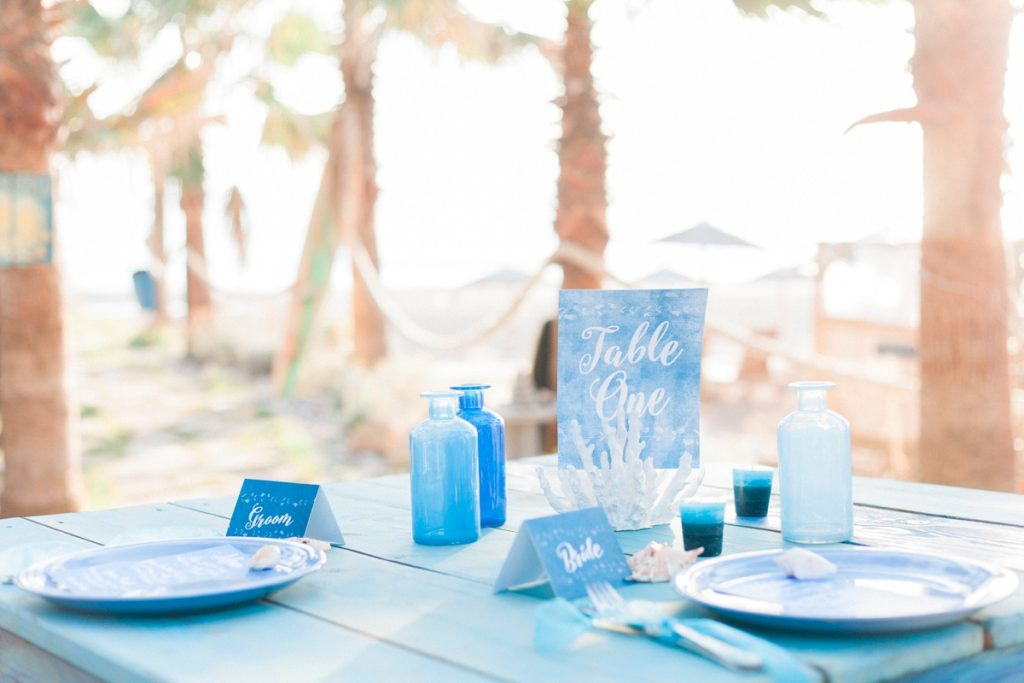 Blue white calligraphy beach destination wedding invites invitations stationery printable printed 7