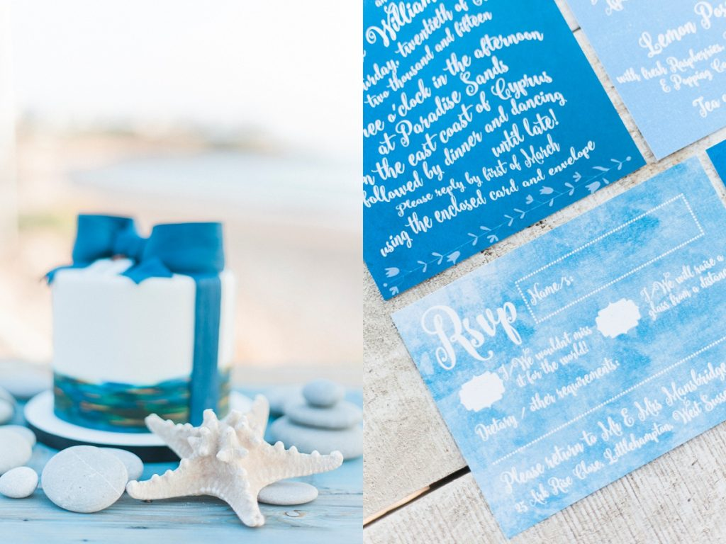 Blue white calligraphy beach destination wedding invites invitations stationery printable printed 9