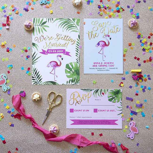 Flamingo Pink Retro Unique Tropical Alternative Destination Wedding Invitations Invites Stationery Printables 2