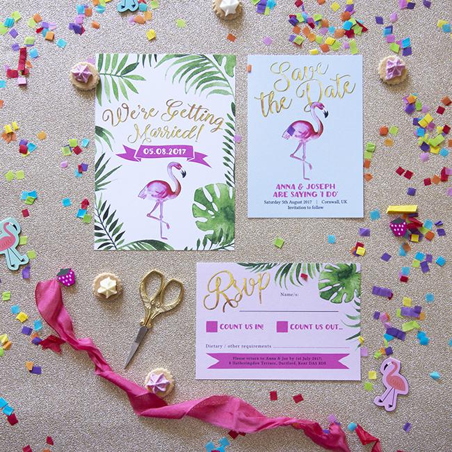 Flamingo Pink Retro Unique Tropical Alternative Destination Wedding Invitations Invites Stationery Printables 2
