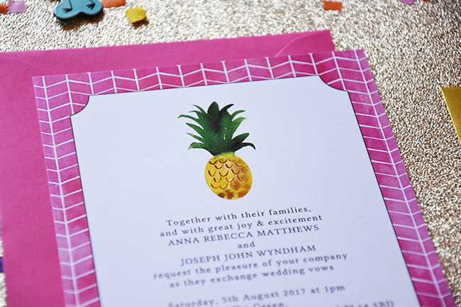 Flamingo Pink Retro Unique Tropical Alternative Destination Wedding Invitations Invites Stationery Printables 6