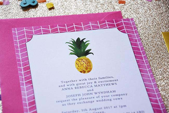 Flamingo Pink Retro Unique Tropical Alternative Destination Wedding Invitations Invites Stationery Printables 6