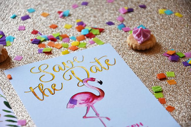 Flamingo Pink Retro Unique Tropical Alternative Destination Wedding Invitations Invites Stationery Printables 8