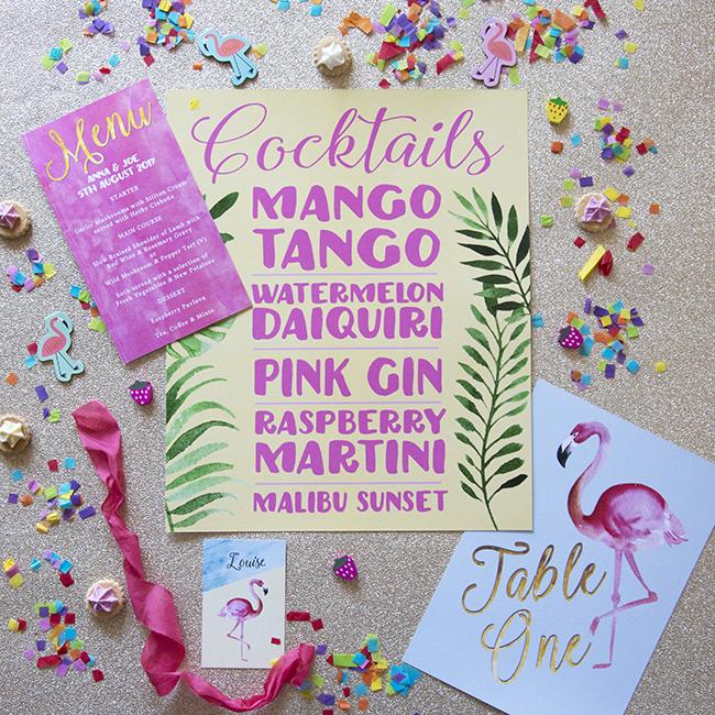 Flamingo Pink Retro Unique Tropical Alternative Destination Wedding Invitations Invites Stationery Printables