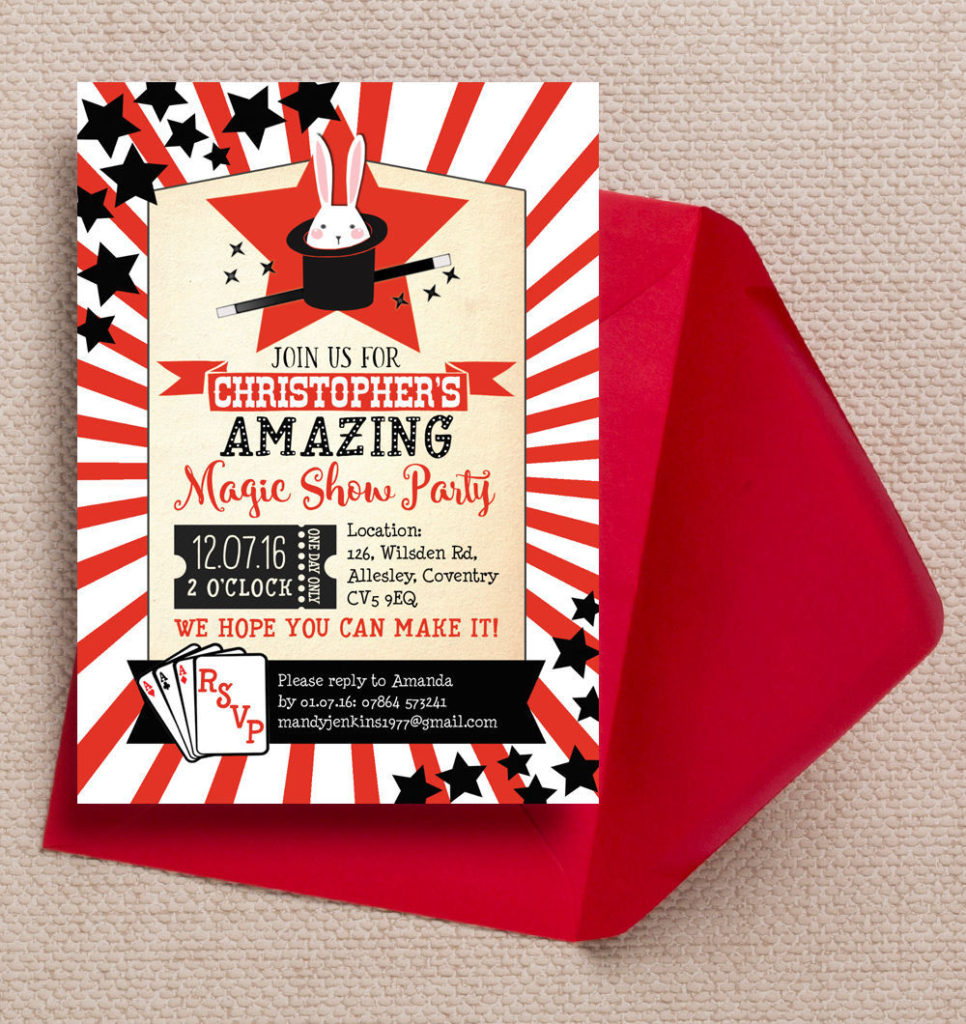 Personalised-Magic-Magician-Show-Circus-Party-Invites-Invitations-printed-printable-3
