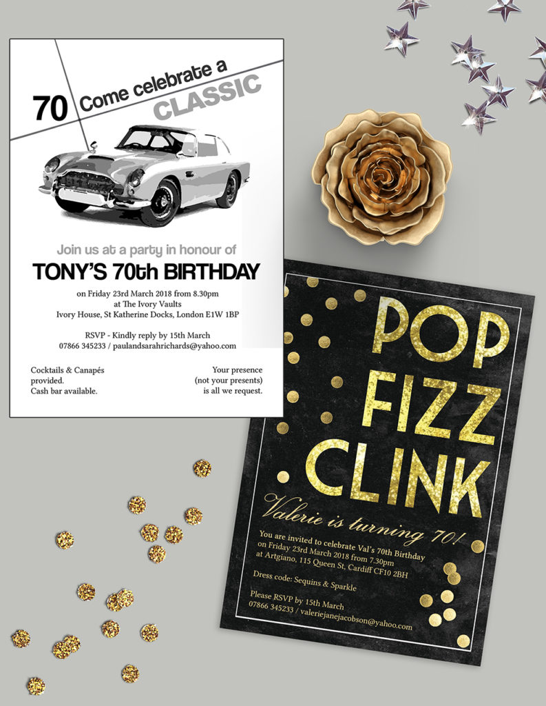 Personalised Milestone Birthday Invitations