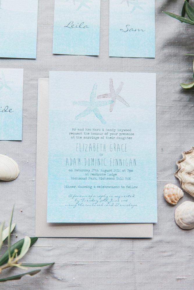 Tropical Starfish Destination Wedding Stationery