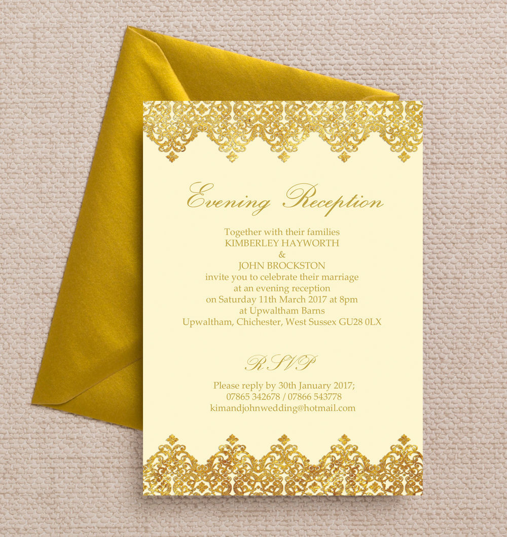 Top 10 printable evening wedding reception invitations elegant vintage cream gold evening reception invitation filmwisefo