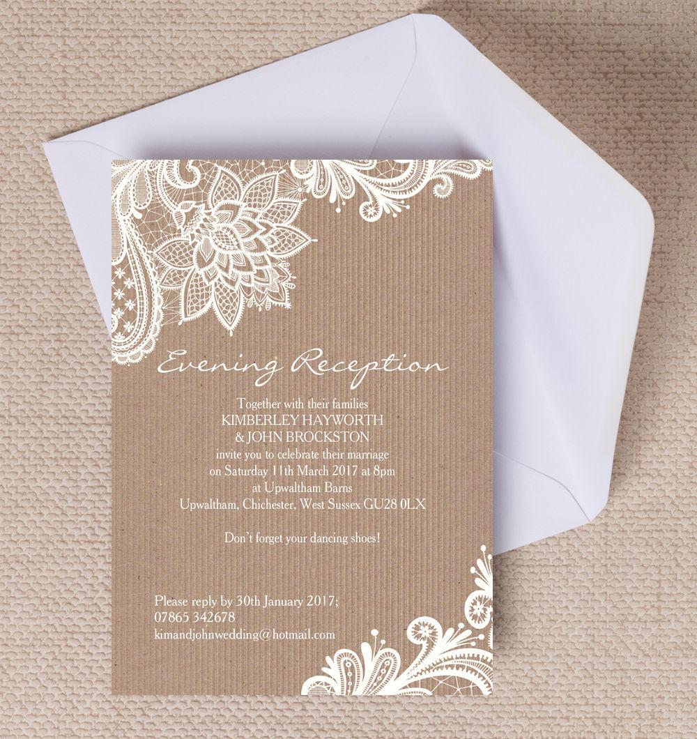 Afternoon Wedding Reception Ideas: Top 10 Printable Evening Wedding Reception Invitations