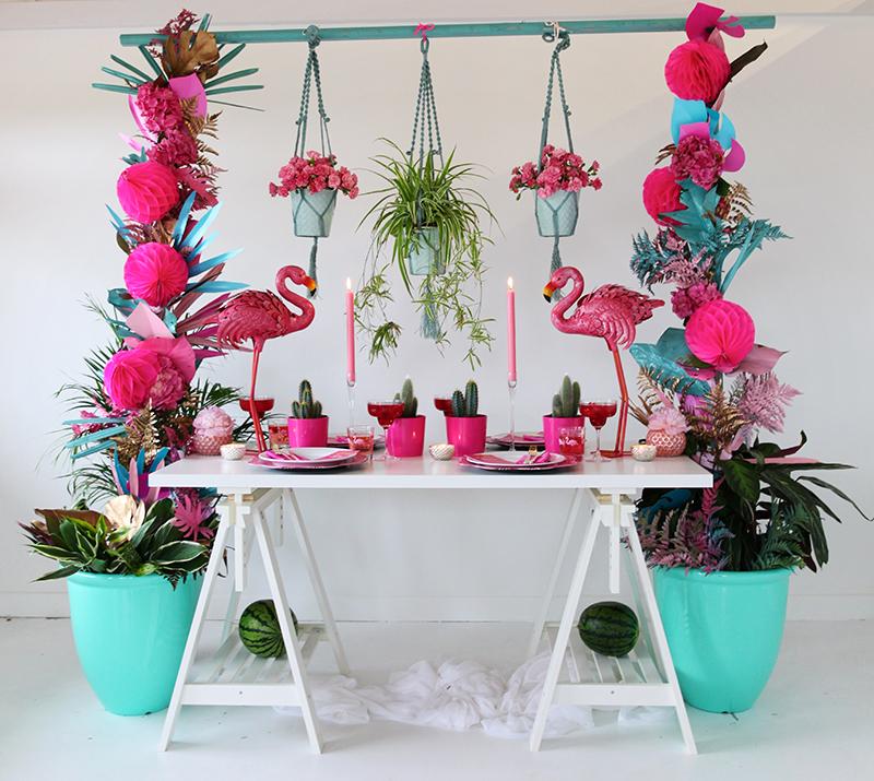 Tropical Wedding Inspiration Pink Gold Flamingo Wedding Theme