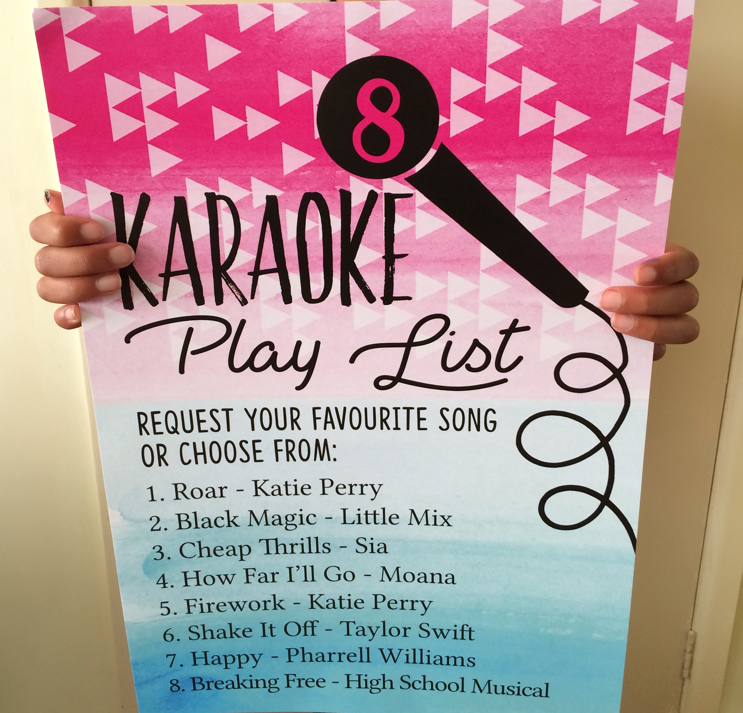 Karaoke themed kids party stationery made to be personalised this party sign features enough room for you to write down the running order of your favourite songs so no one misses a beat monicamarmolfo Image collections