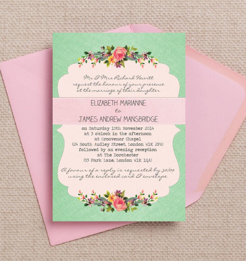 Top 8 Printable Floral Wedding Invitations