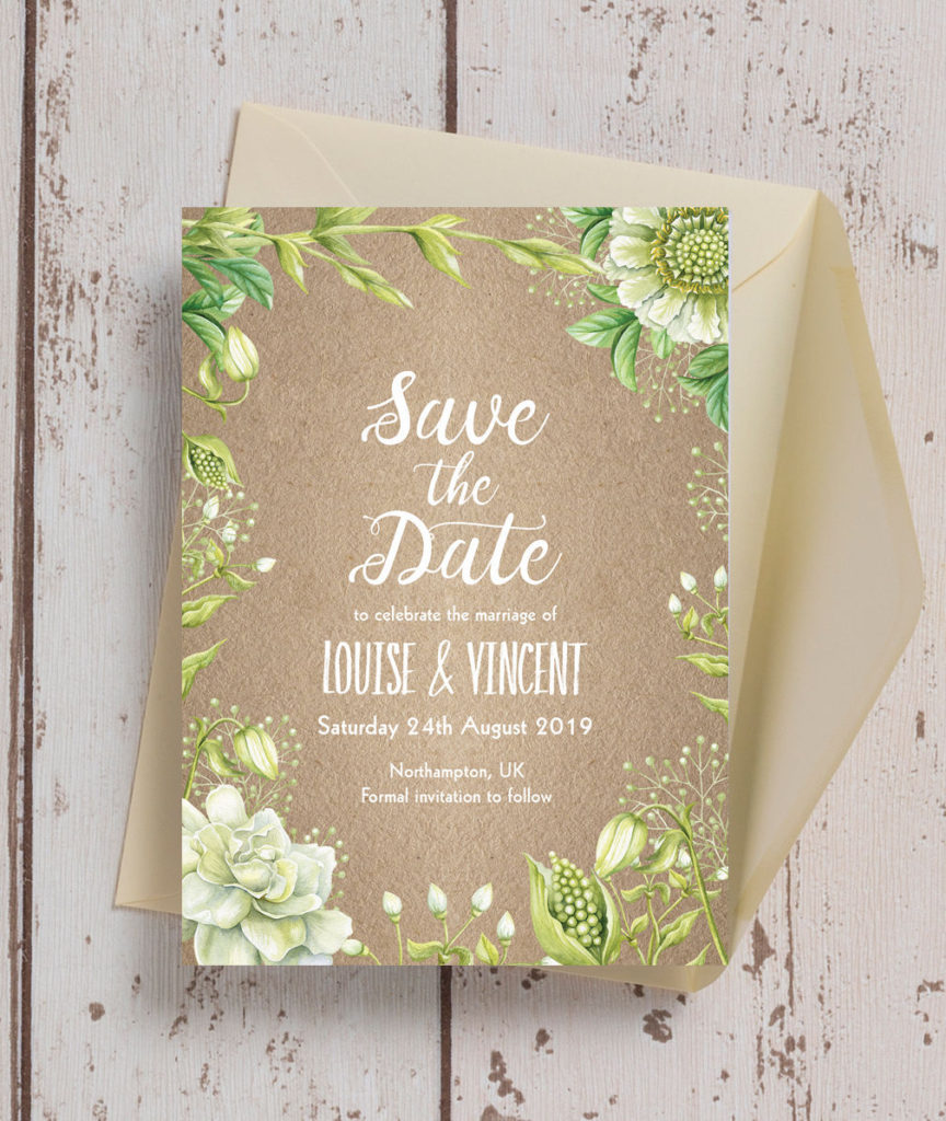 Above This Rustic Greenery Save The Date Features A Kraft Background With Beautiful And Elegant Fonts