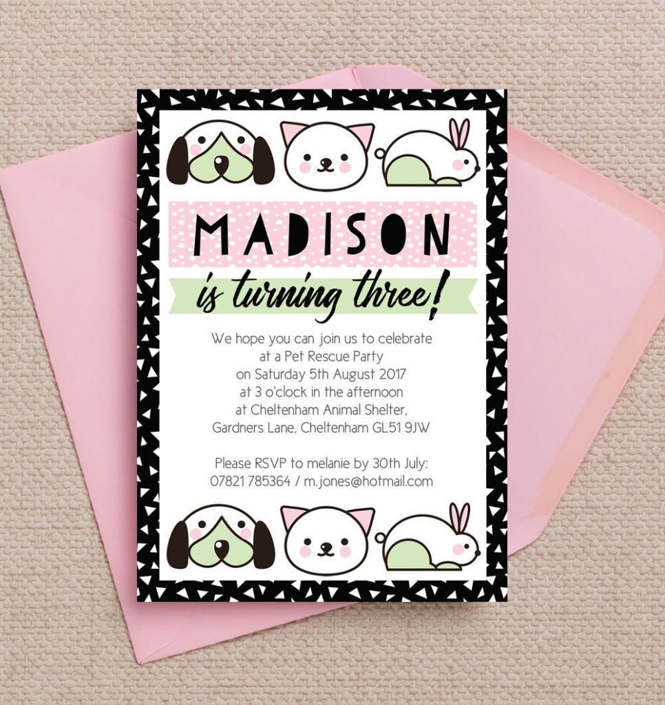 Pet Rescue Birthday Party Invitation - Pink from £0.80 each