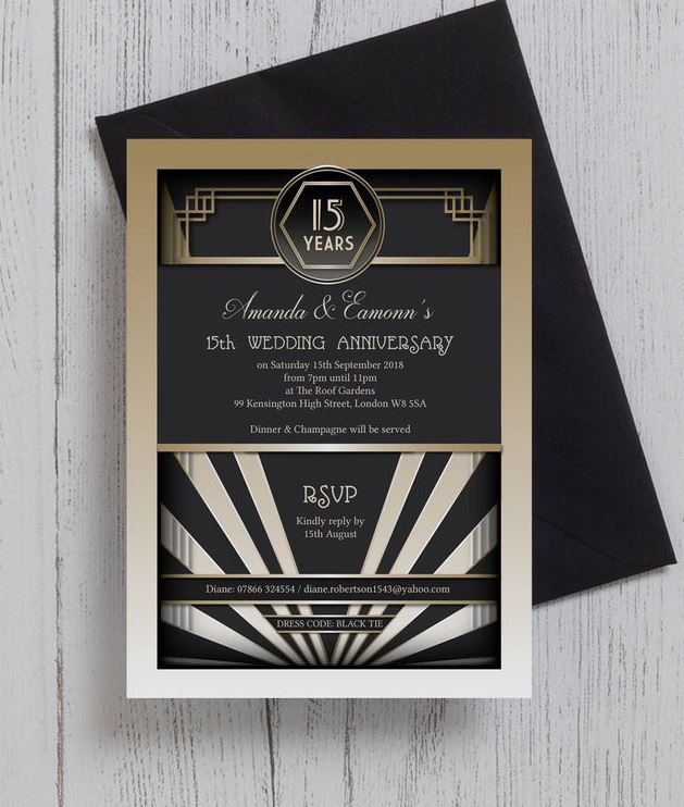 10 of the best wedding anniversary invitations black gold masquerade wedding anniversary invitation solutioingenieria Images