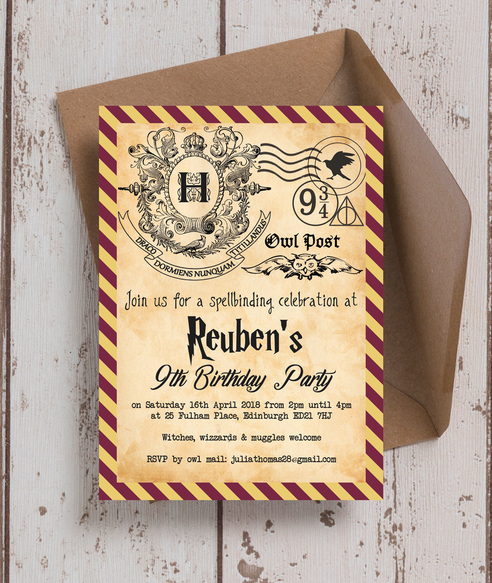 Harry Potter Inspired Birthday Party Invitation