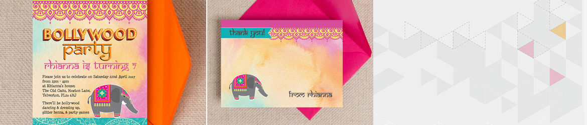 Bollywood Kids Party Invites Stationery – Bollywood Birthday Card
