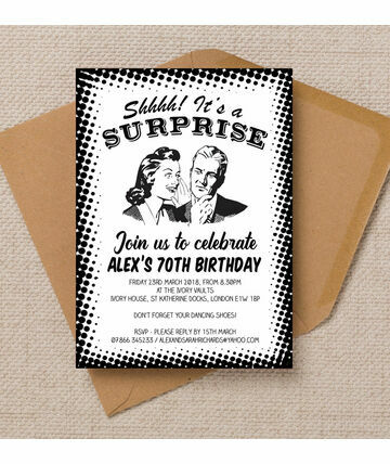 Personalised 70th Birthday Party Invitations