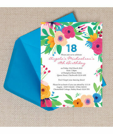 bright floral fiesta 18th birthday party invitation 800 from 125 bright and colourful this beautiful floral fiesta birt - 18th Birthday Party Invitations