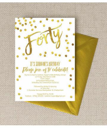 personalised 40th birthday party invitations, Birthday invitations