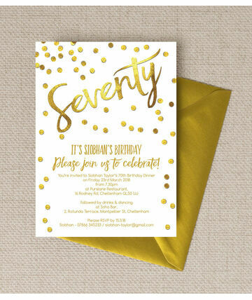 personalised 70th birthday party invitations, Birthday invitations