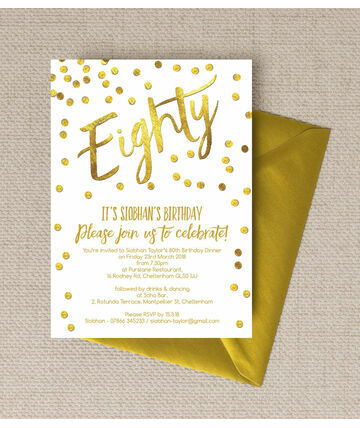 Personalised 80th Birthday Party Invitations
