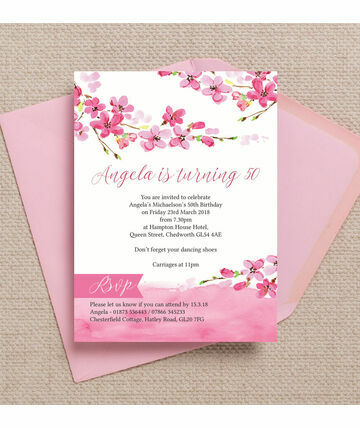 cherry blossom pink floral 50th birthday party invitation 800 from 125 our beautiful cherry blossom 50th birthday invitation u