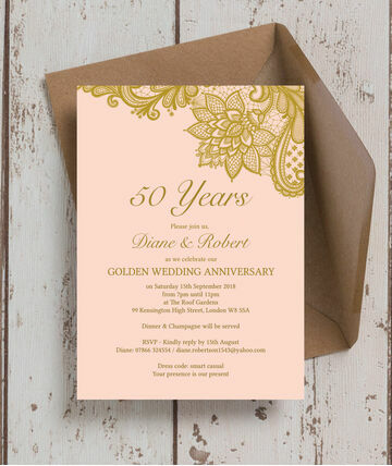 gold lace inspired 50th golden wedding anniversary invitation 800 from 125 begin your 50th wedding anniversary celebrations with a - 50 Wedding Anniversary Invitations
